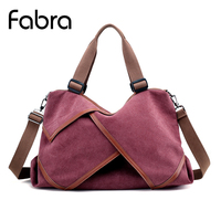 Fabra Canvas Women Handbag Casual Totes Large Capacity Travel Hobos Bag Female Bolsas Solid Shoulder Messenger Bag