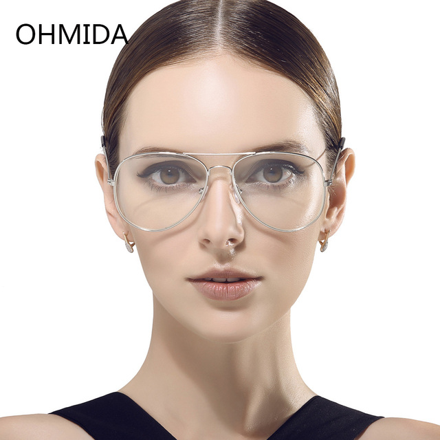 9f5438b9d98 OHMIDA New Fashion Glasses Women Frame Clear Lenses Plain Glass Mirror Pilot  Metal Optical Vintage Eyeglasses Men Vista Eyewear