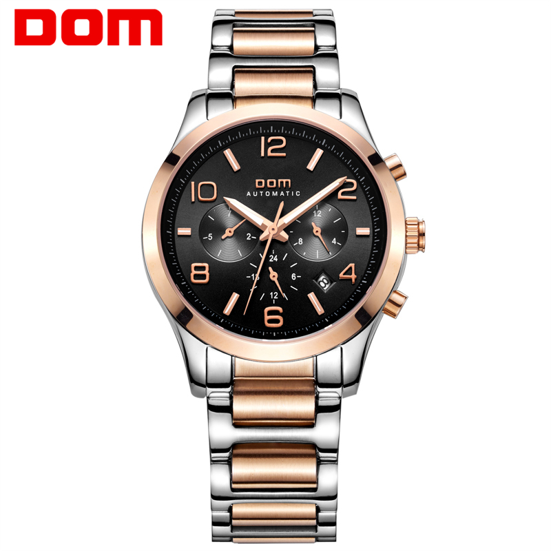 DOM mens watches top brand luxury waterproof mechanical man Business man reloj hombre marca de lujo Men watch M-812G-1M mens watches top brand luxury 2017 aviator white automatic mechanical date day leather wrist watch business reloj hombre
