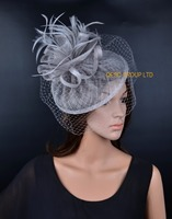 NEW LT silver sinamay hat veiling fascinator for Wedding kentucky derby Races.FREE SHIPPING