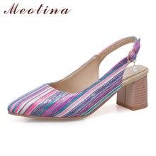 Купить с кэшбэком Meotina High Heels Shoes Women Luxury Pearl Chunky Heels Shoes Buckle Pointed Toe Slingbacks Pumps Female Spring Plus Size 33-46