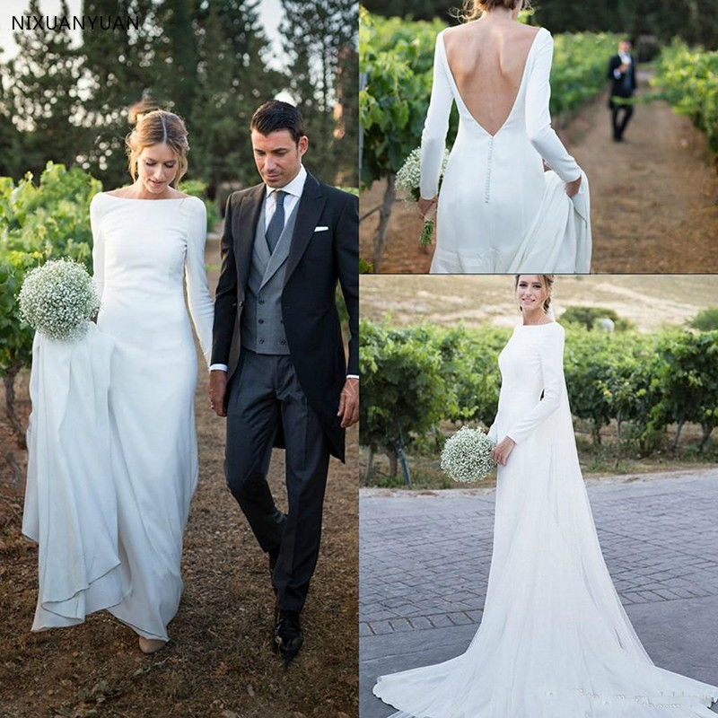 New Country Wedding Dresses Long Sleeves Bateau Sheath Backless Court Train Dress for Bridal Gowns Vestidos De Noiva