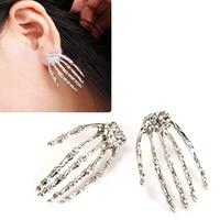 Women's Fashion Skull Bone Skeleton Hand Pattern Earrings Creative Ear Studs