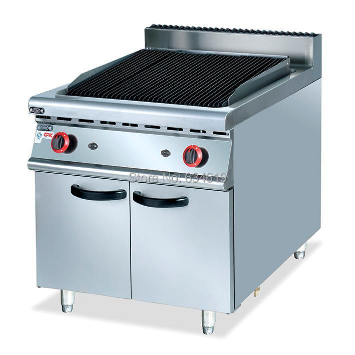 Commercial high quality stainless steel gas lava rock grill with cabinet food equipment supplier