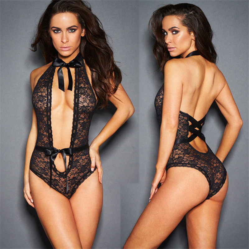 2017 Sexy Lingerie Hot Black/Red Lace Floral Dress Porn Sex Underwear Sexy Teddy Baby Dolls Lenceria Sexy Costumes