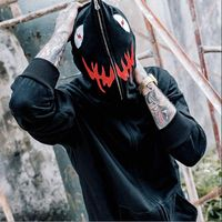 2018 Men's hoodies Cardigan Hooded hoodies Embroidered Evil Shark Couple Country Tide Scratch Zip Jacket