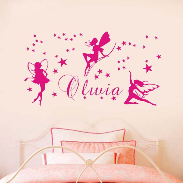 Custom name fairy wall stickers baby girl bedroom wall decor art vinyl sticker decal quote lettering