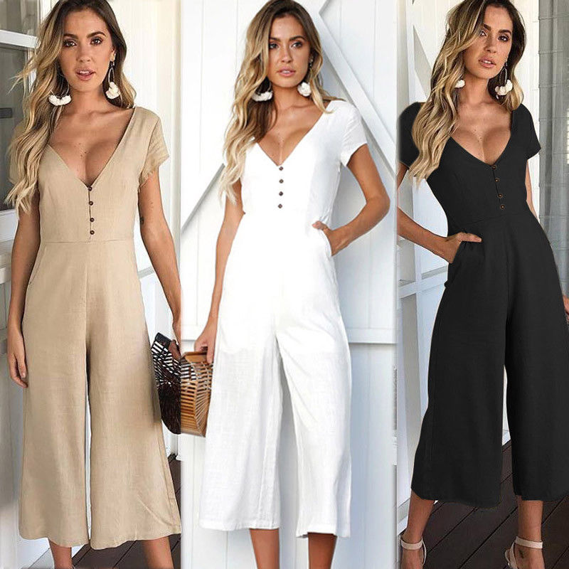 2018 fashion Womens Jumpsuits v-neck Clubwear Playsuit Party short sleeve Jumpsuit Romper clothes Long loose wide leg rompers