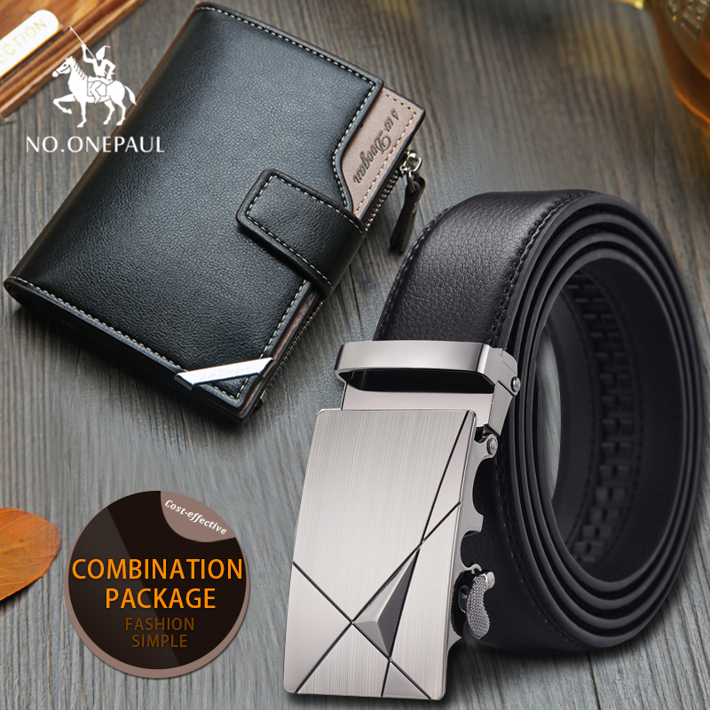 Set/sets Suit  Men Belt High Quality Cowhide Genuine Leather Business Black Belt Automatic Buckle Male  Belts Short Wallet Gift