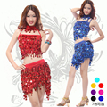 2016 New Ballroom Dance Dresses Samba Rumba Costume for Women Sexy Sequins Dress Latin Sequin Dress 3pcs/set