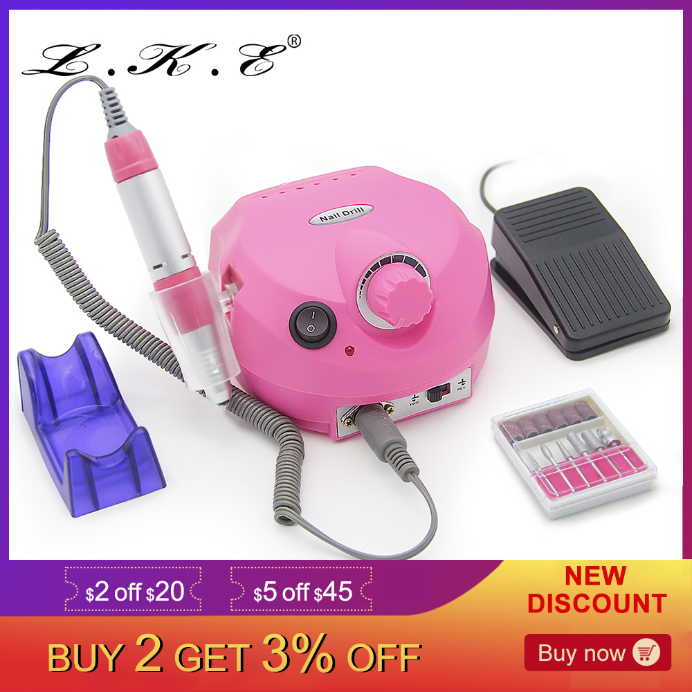 LKE 30000RPM Pro Electric Nail Drill Machine Apparatus for Manicure Pedicure with Cutter Nail Drill Art Machine Kit Nail tools