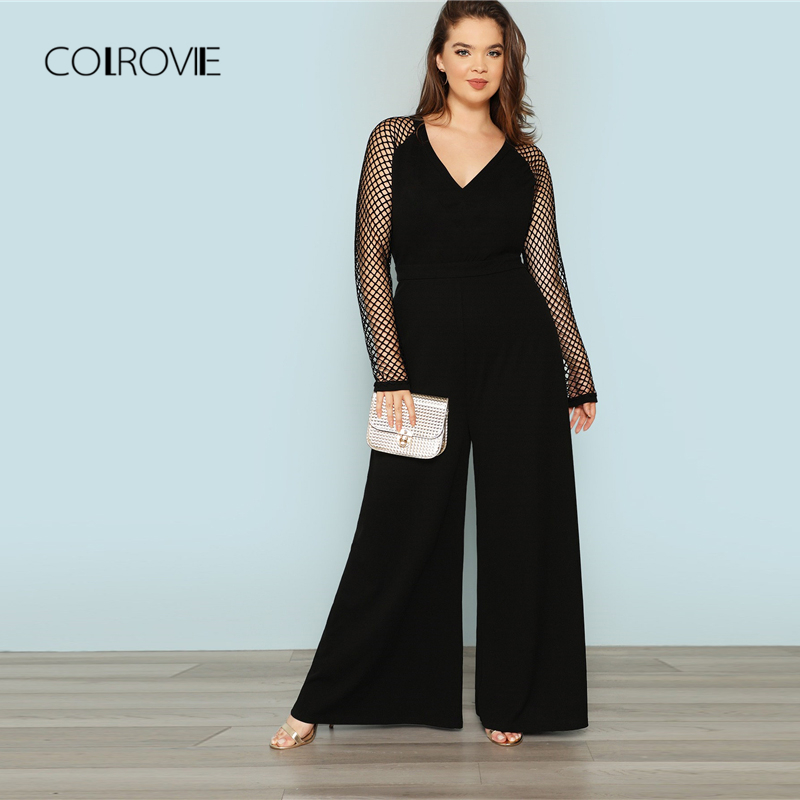 COLROVIE Plus Size Black Solid Office Cut Out Sexy Jumpsuit Women 2018 Autumn Fishnet Sleeve Overalls Female Elegant Jumpsuits
