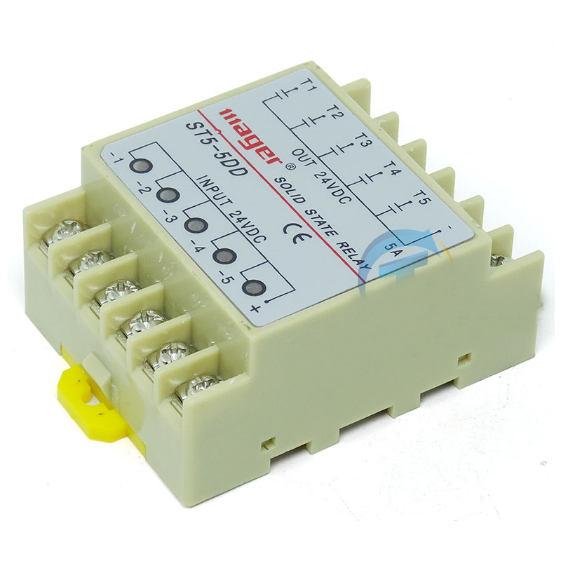 Free shipping 1pc Original ST5-5DD Din Rail 5 Channel DC five input output 24VDC 5A  single phase DC solid state relay normally open single phase solid state relay ssr mgr 1 d48120 120a control dc ac 24 480v