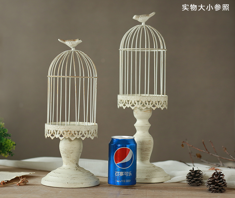 Home decoration French vintage retro finishing iron birdcage flower bird cage mousse