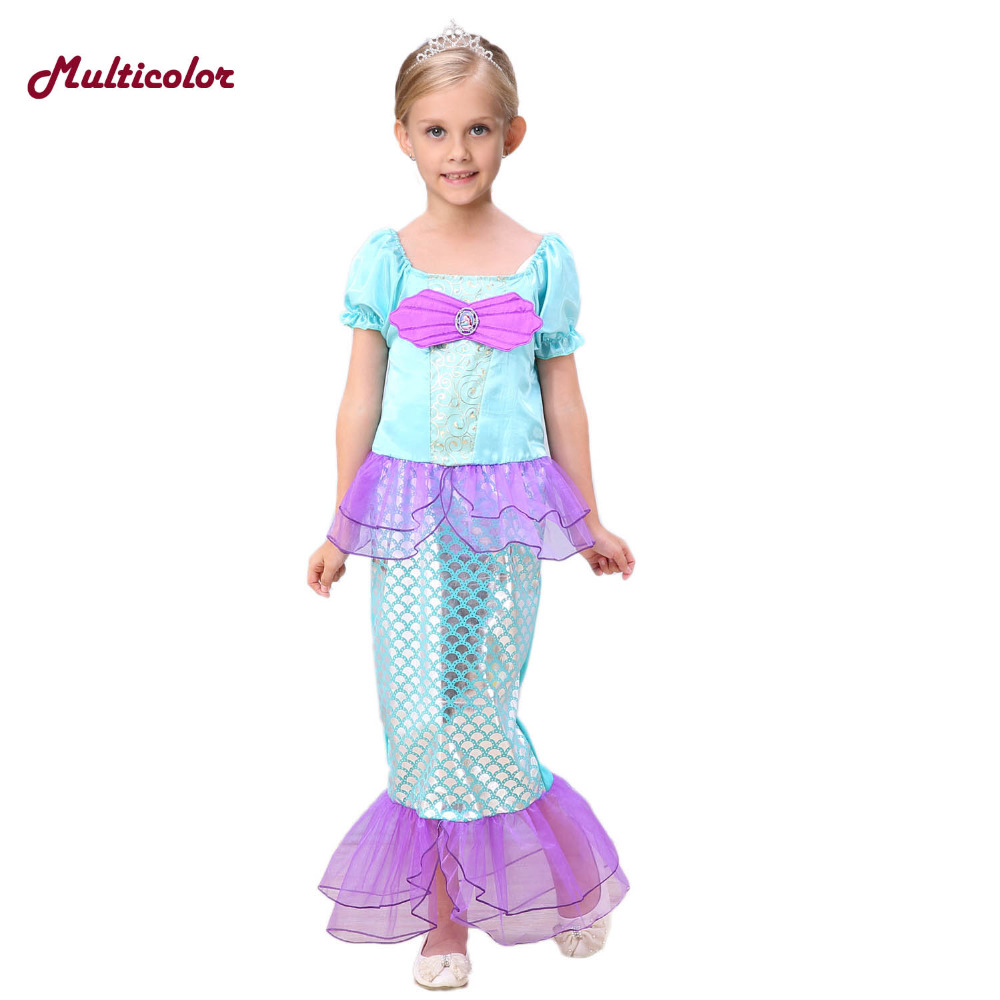 2017 Custom Made Little Mermaid Dress Children Mermaid Kids Girls Dress Princess Cosplay Party Princess Ariel Swiming Clothing moviethe little mermaid ariel princess dress mermaid cosplay costume custom made