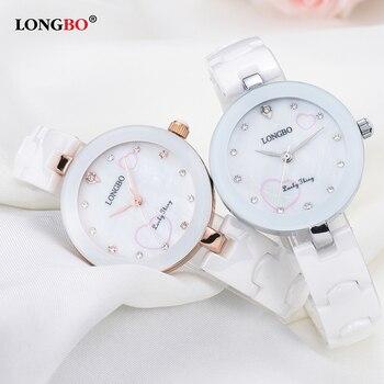 99fb64bf0301 Longbo бренд 2018 новые модные женские часы классические белые керамические  женские ...