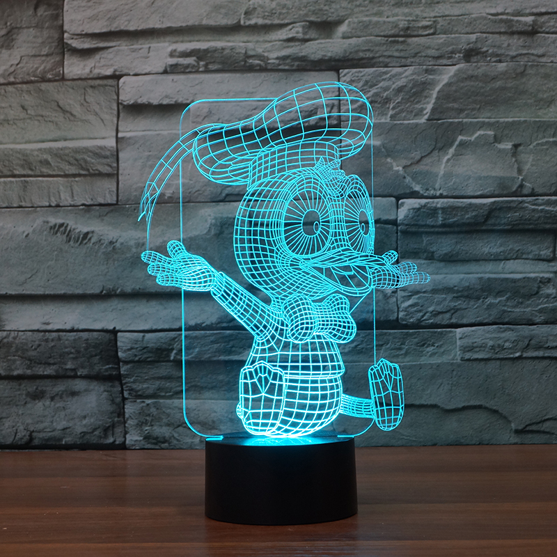 free shipping 3D night lamp Donald duck moulding Acrylic Entertainment illusion LED Lamp USB christmas baby night light