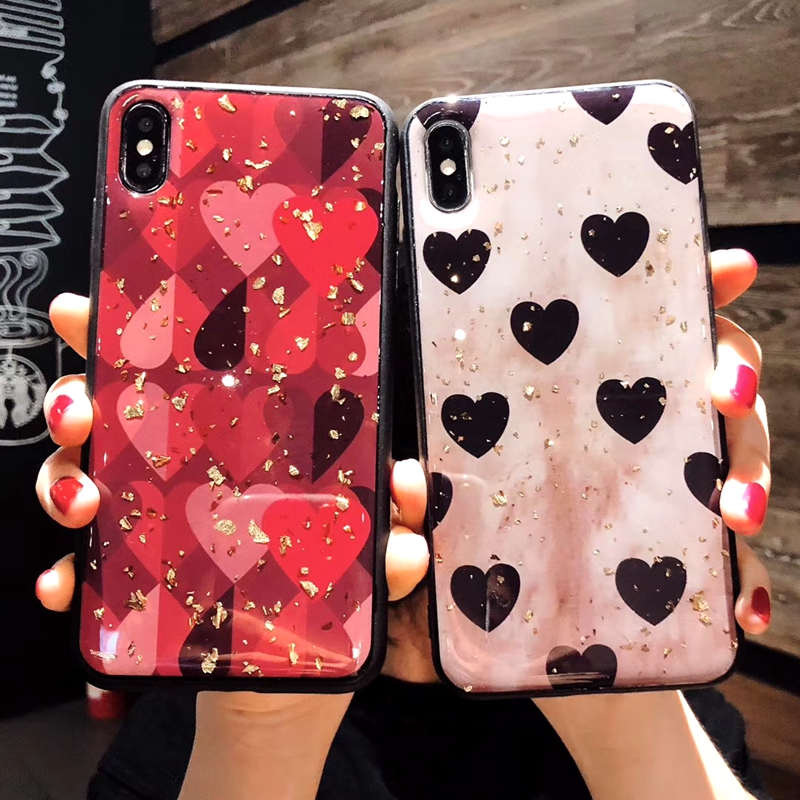 For Huawei P20 Case Retro Cute Love Heart Gold Foil Bling Glitter Phone Case For Huawei P20 Soft TPU Silicone Back Cover