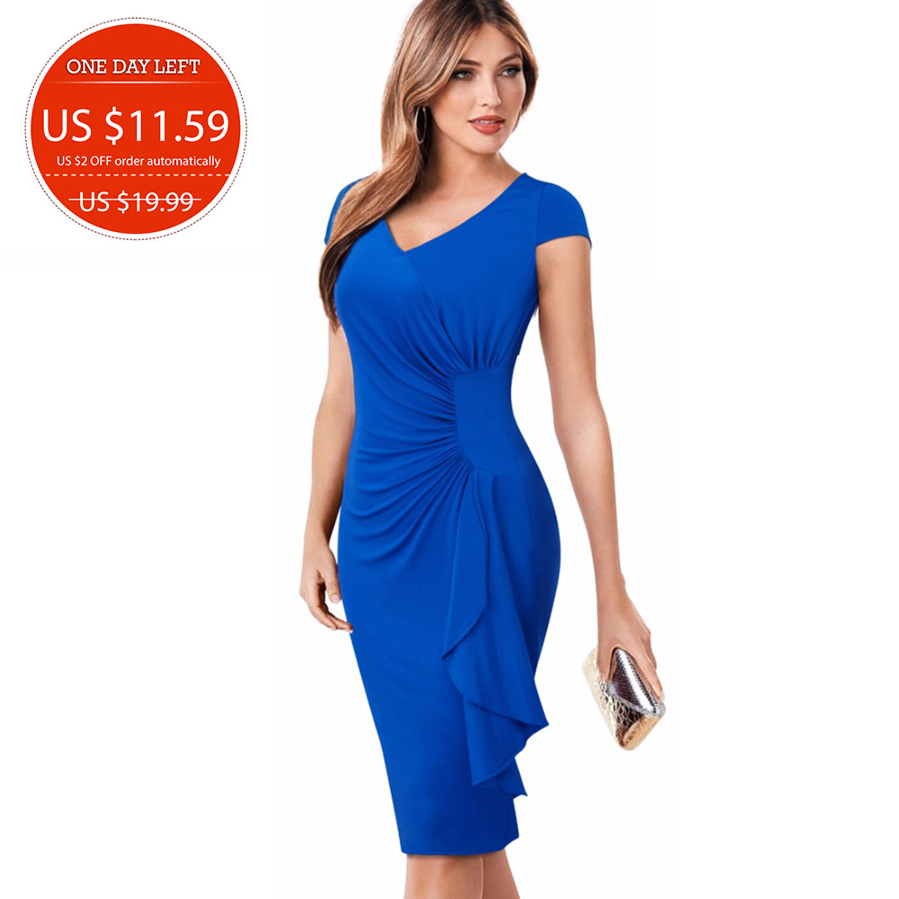 Summer Women Elegant Vintage Short Sleeve Casual Business Work Wear Sheath Fitted Bodycon Solid Pencil Dress EB388