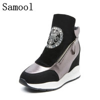 Samool 2017 Fashion Height Increasing Women Shoes Winter Woman Ankle Botas Suede Shoes Woman Boat Platform