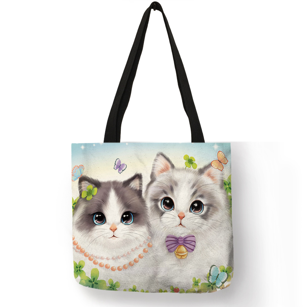 3D Printed Super Lovely Kitten Cat Printed Shoulder Bag For Girls Eco Linen Reusable Tote Bag Daily Casual School Book Handbag
