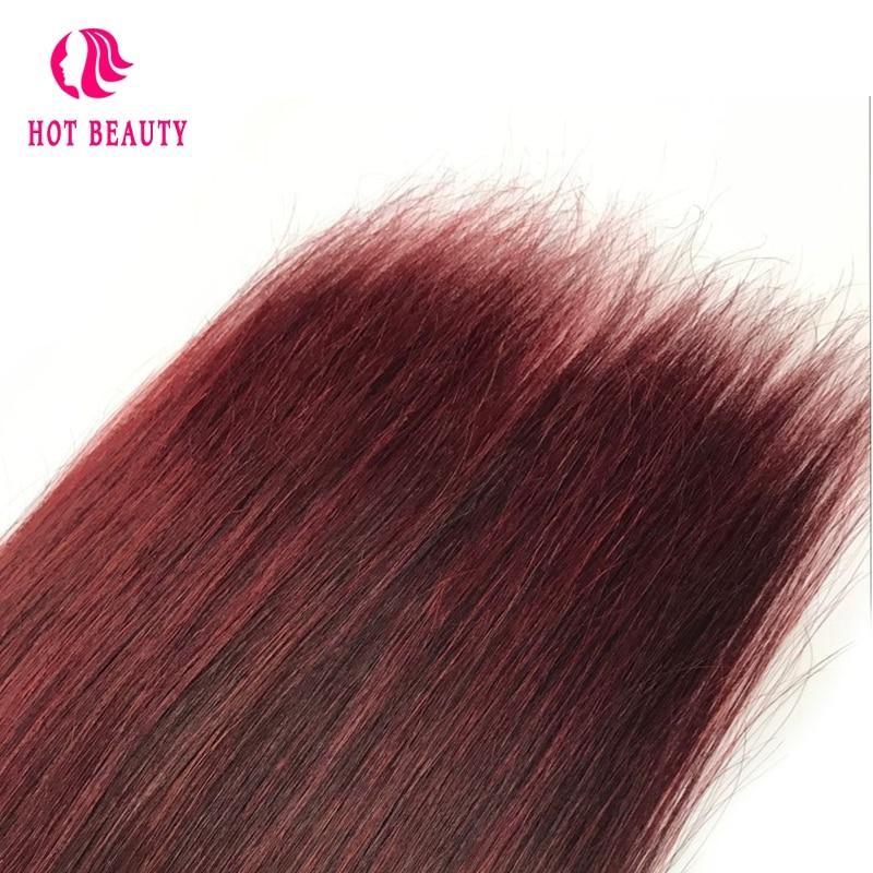 Hot Beauty Hair Wain Color Peruvian Straight Hair Bundles 10-26 inch - Rambut manusia (untuk hitam) - Foto 6
