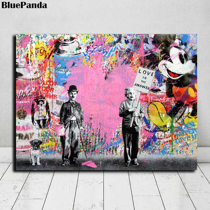 Chaplin Einstein Poster Mr. Brainwash Banksy Comics Paintings On Canvas Modern Art Decorative Wall Pictures Home Decoration