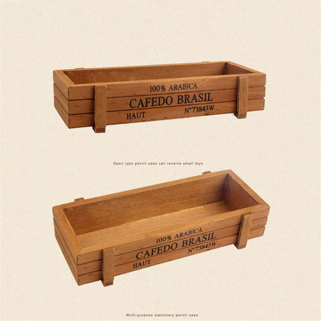 FullLove 2PCS/Set Succulents Storage Box Wooden Vintage Letter Print  Cosmetic Organizer Stationery Case Flower Pots Holder
