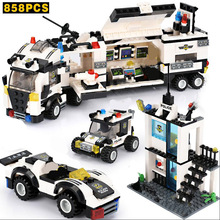 858PCS SWAT Police Station Building Blocks City Truck Sets Creator Assembly Figures Bricks Toys Children Gifts