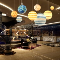 Star wish modern pendant ceilling lamps for living dining bedroom children room eight planet earth moon hunging lamp