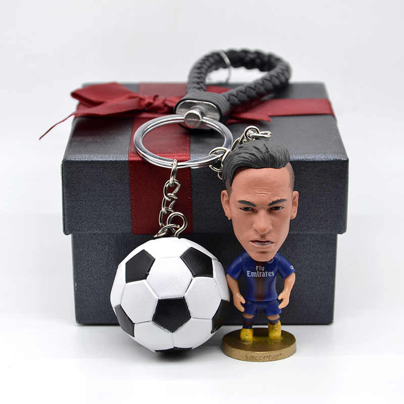 Soccerwe PSG Soccer Neymar figurine with keychain Neymar action figure Toys Christmas Birthday football gifts for Soccer Fans