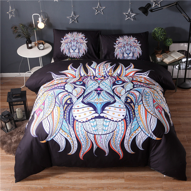 Black And White Lion Duvet Cover Indian Style Queen King Reactive Printed 3D Lions Quilt Cover Bed Set Pillowcase Double Bedding