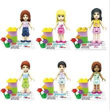 JLB M1001 Friends Girls Series Lot of 6 Set Mini Figures Building Block Girls Toy Gift Brand New Free Shipping Compatible Legoe