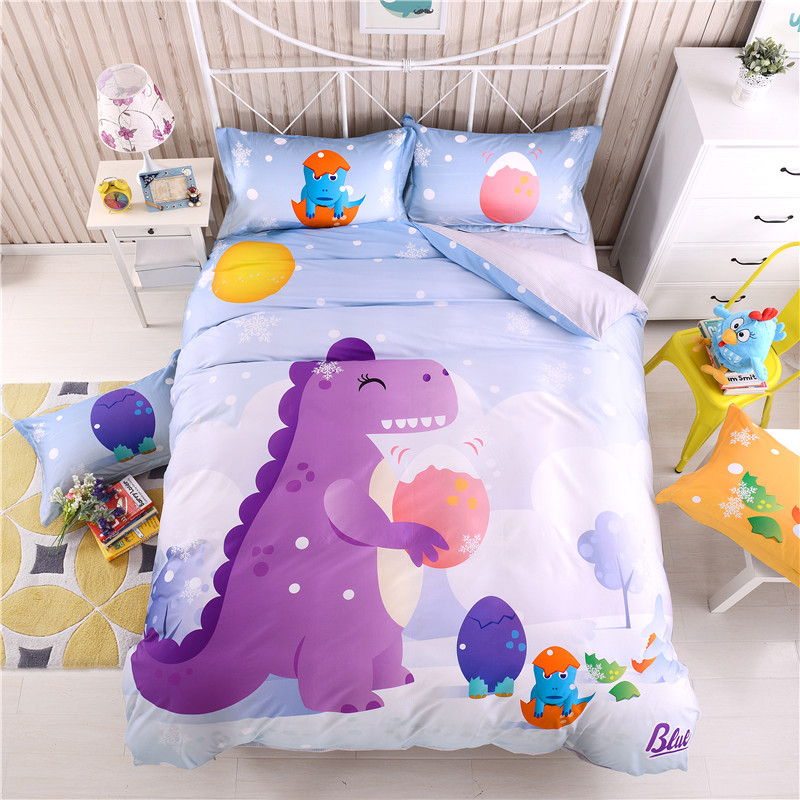 Children Cartoon Dinosaur Bed Linen Set Kids Comforter Bedding Sets Queen size Bedspread Soft Cute Satin Bed Sheets Linens Sets