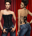 Mulheres Bustier e Espartilho Shapewear AB602 Nova Moda Floral Sexy Strapless Push Up Black Lace Corset