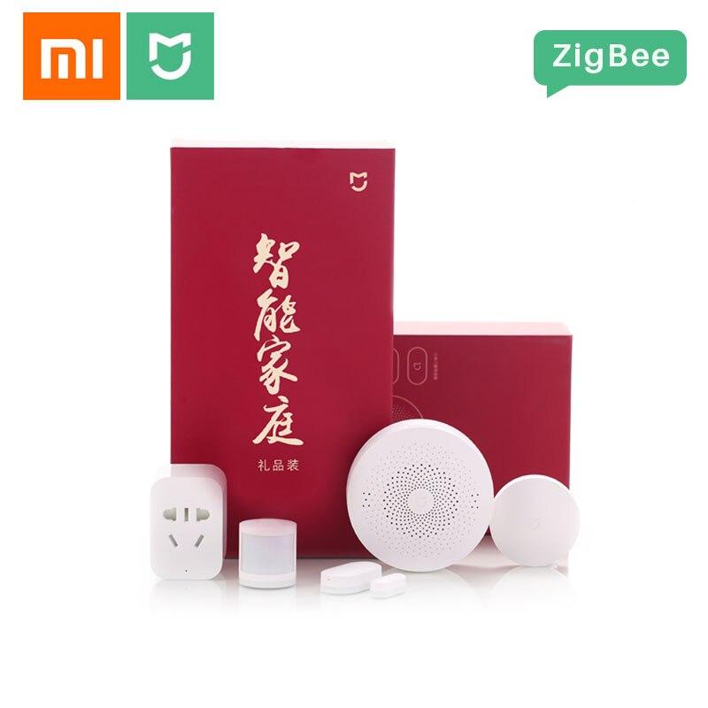 Xiaomi Mijia Kit maison intelligente ZigBee passerelle multifonction 2 capteurs de porte fenêtre capteur de corps interrupteur sans fil 5 en 1 Kits de sécurité