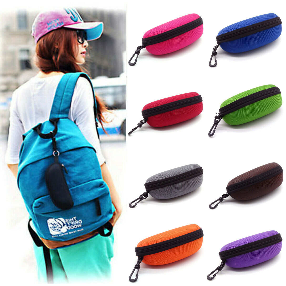 1PC Eye Glasses Sunglasses Hard Zipper Case Cover Bag Storage Box Portable Protector