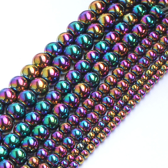 Natrual Multicolor Rainbow Hematite Stone Round Beads For Jewelry Making Bracele