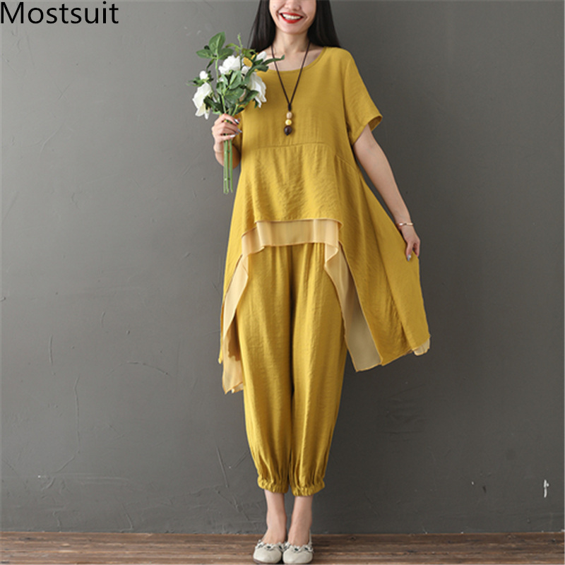 2019 Summer Two Piece Sets Women Plus Size Short Sleeve Asymmetrical Tops And Pants Suits Casual Loose Women's 2 Piece Sets 43