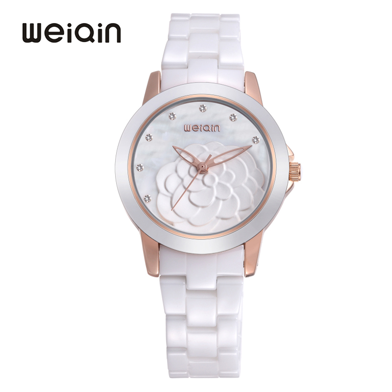 WEIQIN Luxury Full Ceramic Women's Watch 2018 New Fashion Flower Dial Elegant White Ladies Dress Waterproof Quartz Wristwatch weiqin new 100