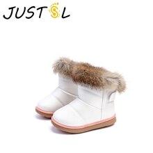 JUSTSL/детские зимние ботинки; зимние Нескользящие хлопковые ботинки с мягкой подошвой для девочек; уличная детская повседневная обувь; size21-30