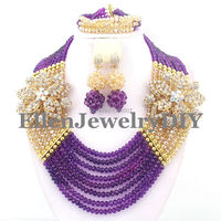 Purple Dubai Crystal Beads women statement Necklace Set African Beads Jewelry Set for Nigerian wedding bridal W7984