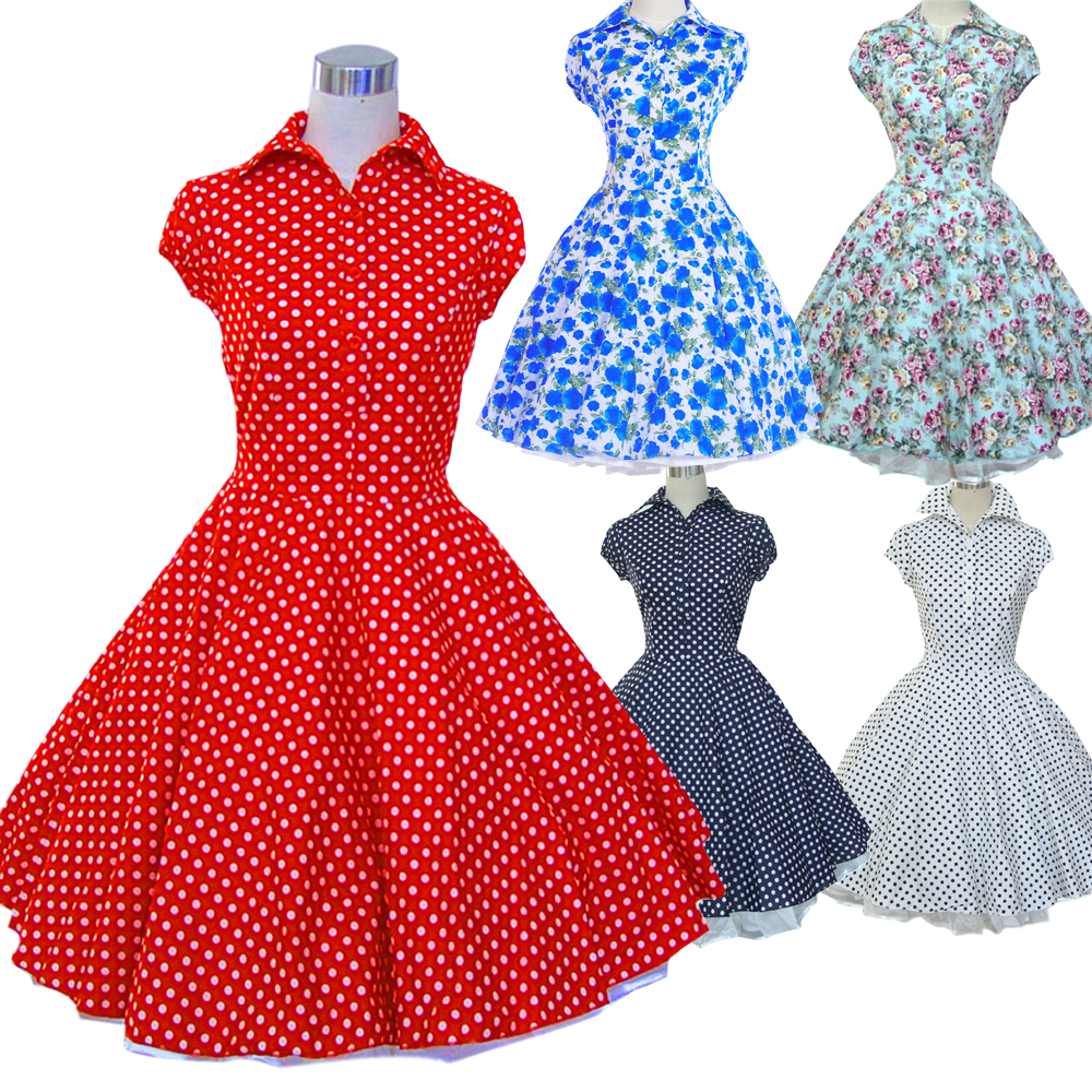 a9907f1b0929e Women s 100% Cotton 40 s 50 s 60 s Style Swing Vintage Dresses Print Floral Polka  Dot Rockabilly