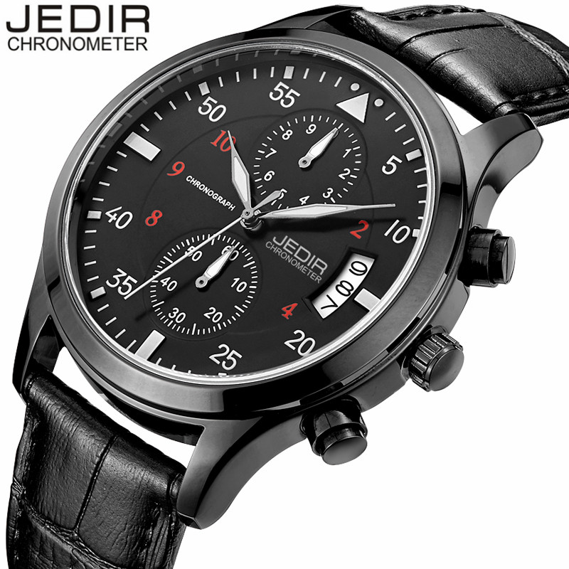 JEDIR Mens Watches Top Brand Luxury Quartz Watch Men Chronograph Luminous Clock Male Military Sports Watches relogio masculino jedir chronograph sport mens watches top brand luxury famous male clock quartz watch military leather relogio masculino gift box