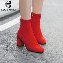 BONJOMARISA 2019 New Fashion Plus Size 32-48 Autumn Boots Woman Shoes Chunky Heels Zipper Black Red Shoes Woman Boots Women(China)