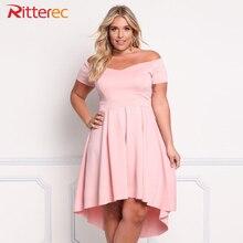 Womens 2017 Pink Dress Plus Size Dresses For Women 4xl 5xl 6xl Clothing Slash Neck Empire 3xl Black Off Shoulder Dress Summer