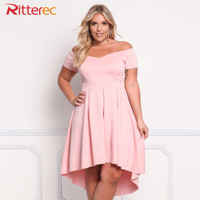 1e9dd586461f Womens 2017 Pink Dress Plus Size Dresses For Women 4xl 5xl 6xl Clothing  Slash Neck Empire 3xl Black Off Shoulder Dress Summer