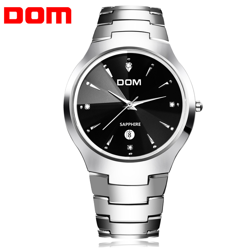 цены Original DOM 698 Mens Watches Fashion Casual Quartz Watch Real Tungsten Steel Sapphire 3Bar Waterproof Male Business Wristwatch