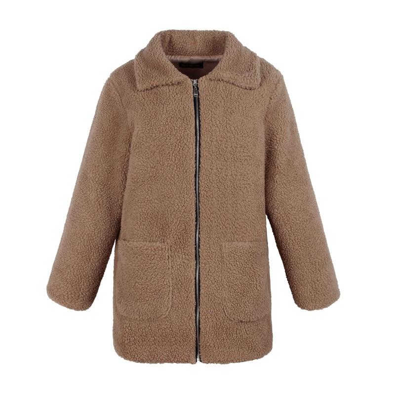 Europe and the United States street photo lapel imitation fur plush coat multi-color long wool coat (14)
