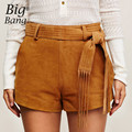 Faux Leather Suede Shorts Tassel Belted Waist Women Shorts 2016 Autumn New Arrival Shorts Skirts Punk Style Shorts M16071501